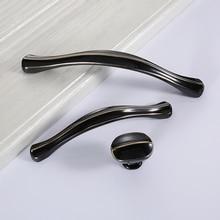 Painted Drawer Wardrobe Handle European Style Black Cabinet American Knob Shoe Modern Simple Single Pulls