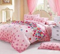 Roze Bloem Nieuwe Gecontracteerd 100% Katoen Beddengoed Sets Comfortabele Dekbedovertrek Sets Full Queen Kingsize bed 3 stks Voor koop
