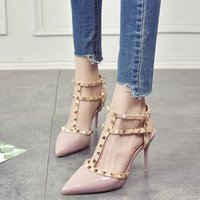 2018 New Arrival Valentine Summer Sandals Party Shoes Women Punk Rivets Sexy Buckle Studded High Heels Pumps Gladiator Shoes