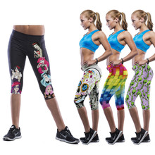 Print Pattern Mid Waist Leggings for Women Sportswear Clothing Elastic Slim Pants for Yoga Fitness GYM