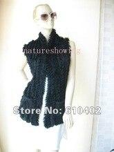 2# free  shipping /wholesale/Wonderful Women's rabbit fur vest /black