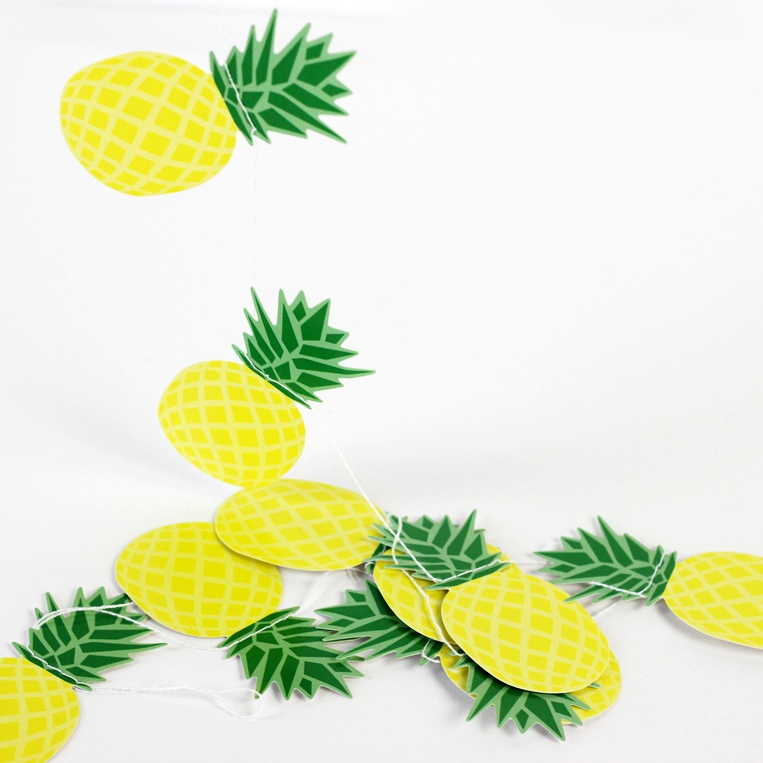Sommar Ananas Garland Banner Heminredning Frukt Garland Tropisk Hawaiian Födelsedag Bridal Show Pool Party Flamingle Decorations