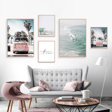 Cuadros Decoracion Sea Scenery Coconut Tree Wall Art Pink Bus Nordic Poster Beach Pictures Living Room Canvas Painting Unframed