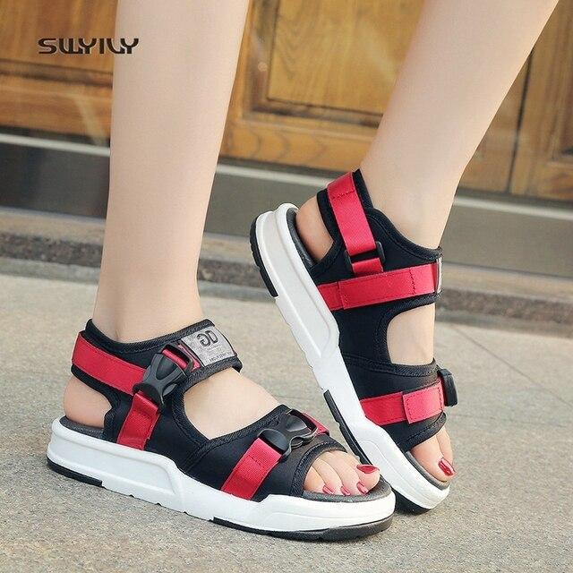 bdf3e1982eb8 SWYIVY Beach Sandals Woman Summer 2018 Platform Hook Loop Female Casaul  Shoes Platform Comfortable Vietnam Shoes Rome Style 40