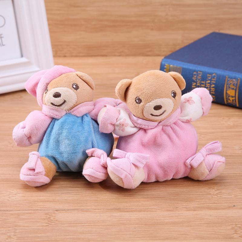 4pcs Baby Plush Bear Pattern Doll Rattle Toys Newborn Bell Hand Grasp Toys Plush Animal Dolls Gifts