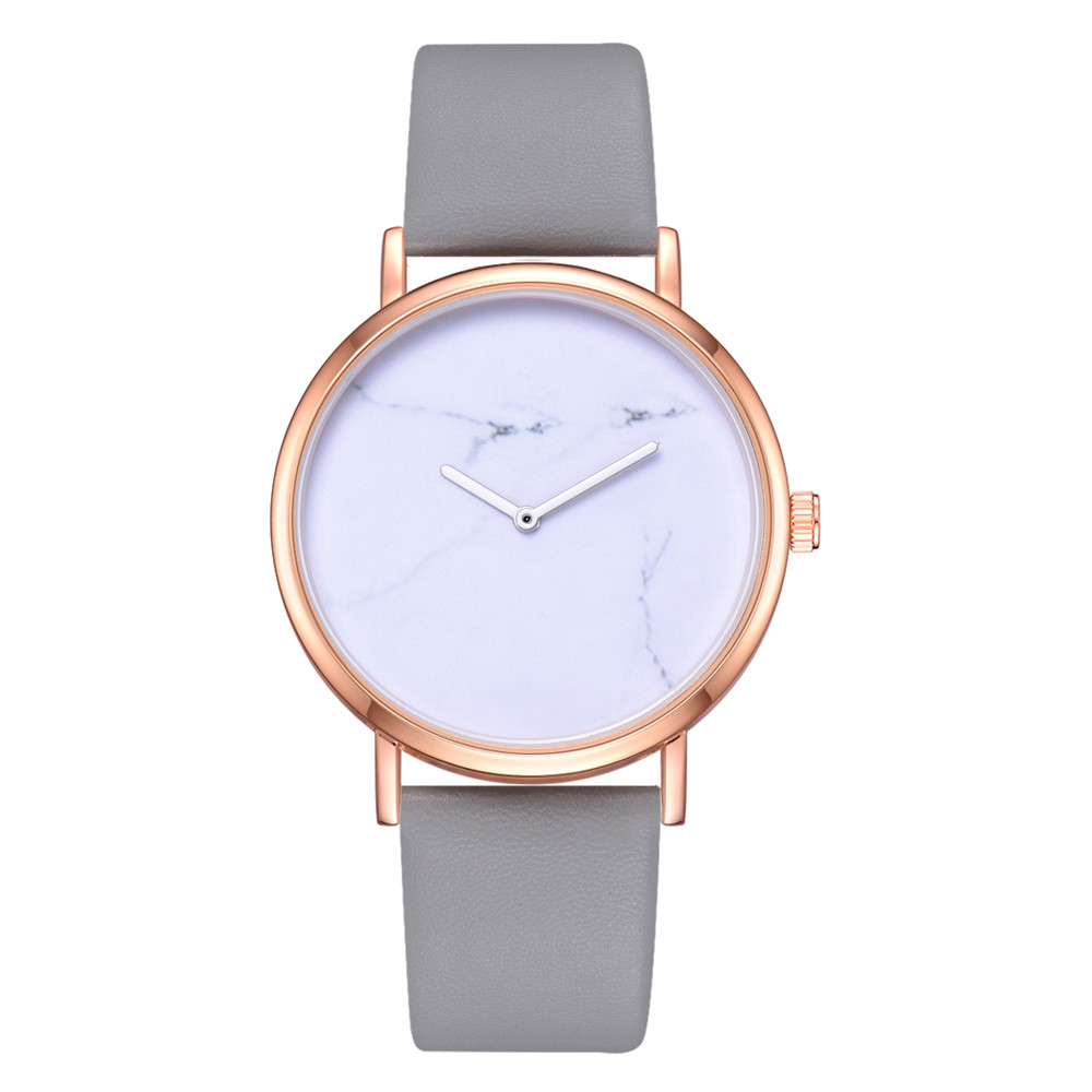 Ladies Simple Marble Pattern Wristwatch Clock Leather Strap Rose Gold Alloy Dial Women Ladies Fashion Watches Montre Femme 40Q