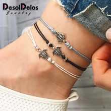Summer Beach Turtle Shaped Charm Rope String Anklets For Women Ankle Bracelet Woman Sandals On the Leg Chain Foot Jewelry(China)