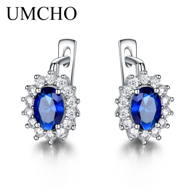 UMCHO Colorful Gemstone Blue Sapphire Clip Earrings  Real 925 Sterling Silver Earrings For Women Engagement Gifts Fine Jewelry