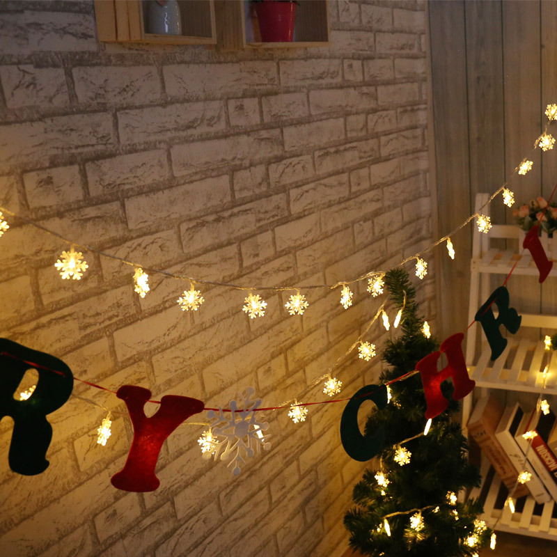6M 40Leds Snowflake String Lights Christmas Tree Hanging Pendant Lamp Battery Operated Holiday Lighting Wedding Party Decoration