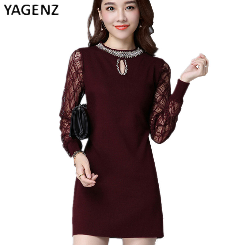 YAGENZ 2017 Spring New Fashion Korean Version Knitted Dress Female Slim Long Paragraph Hedging Long Sleeves Hollow Dress  B008 pregnant women dress new fashion korean version fall