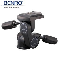 Benro HD Series 3-Way Pan Heads HD3 Professional Magnesium Alloy tripod head Panhead Weight 0.96kg Max Loading 12kg
