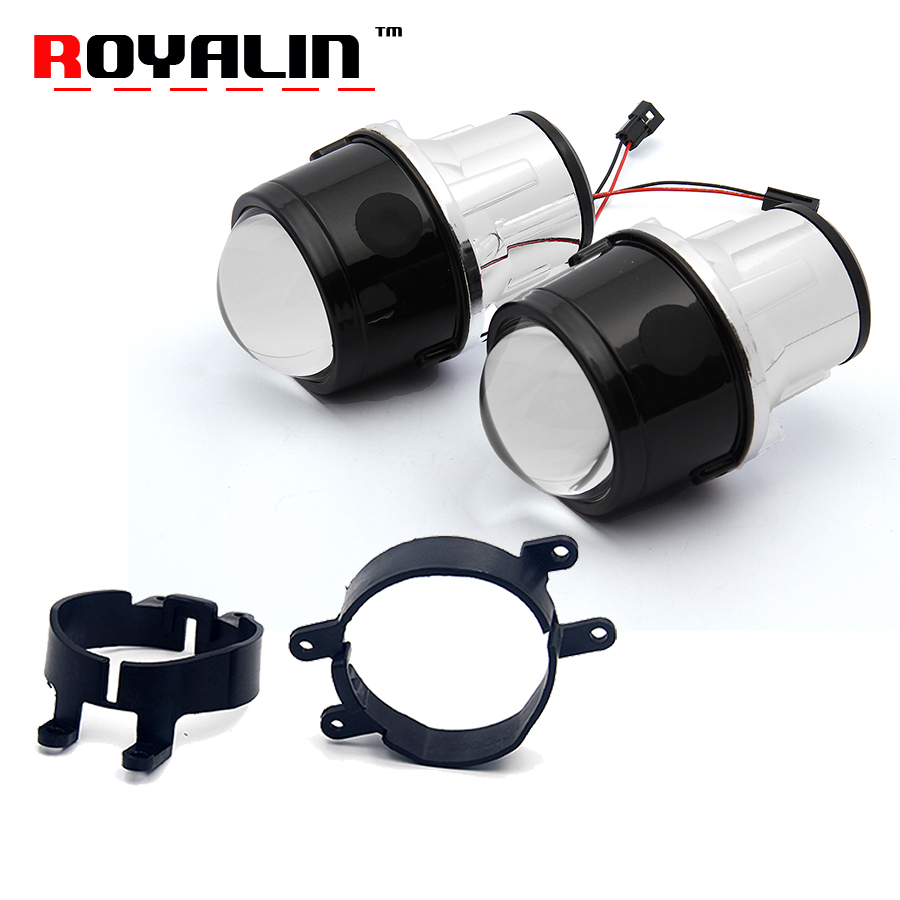 ROYALIN Fog Light Lens Full Metal For Toyota Corolla RAV4 Camry Yaris Lexus 2.5 Bi Xenon Projector Lens Waterproof H8 H11 Bulbs
