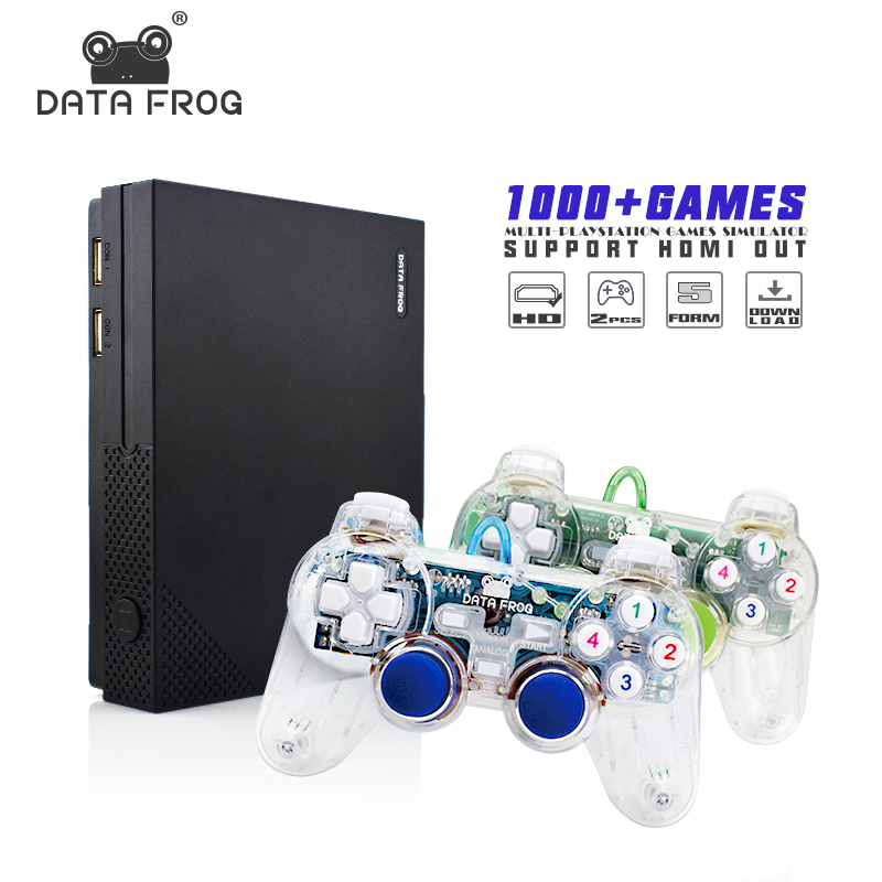цена на Data Frog Retro Video Mini Game console Upgraded version Support HDMI AV Out Built in 1000 Classic Games For all GBA/SNES/MD/FC