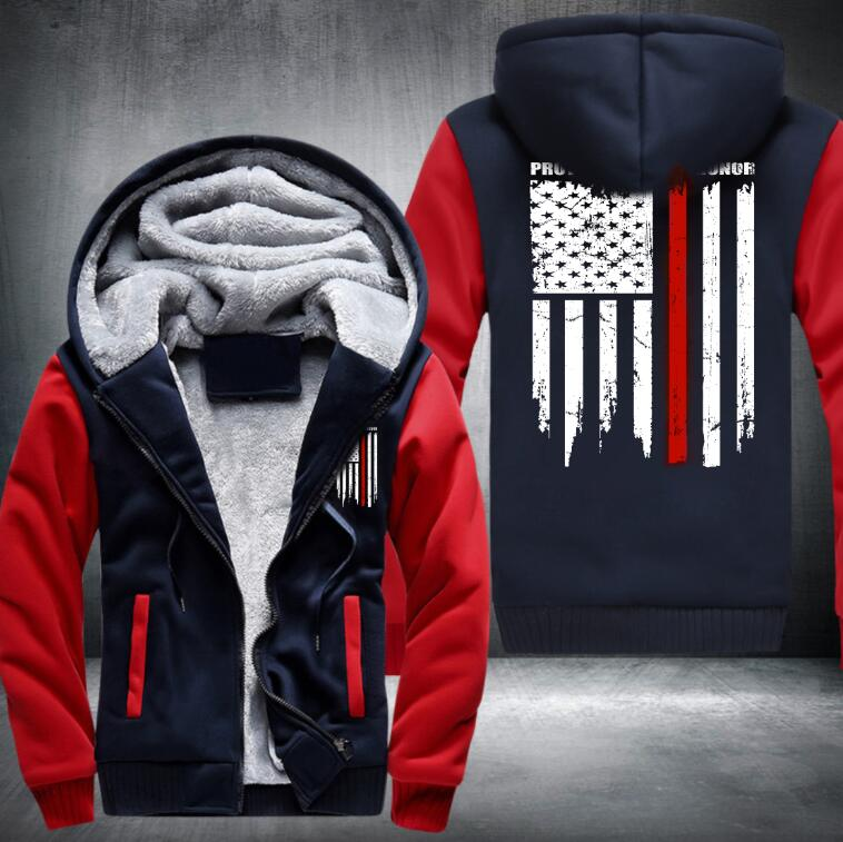 USA SIZE High Quality  anime red white flag pattern Thicken Hoodie  Zipper Coat Jacket Sweatshirt  Costume Plus