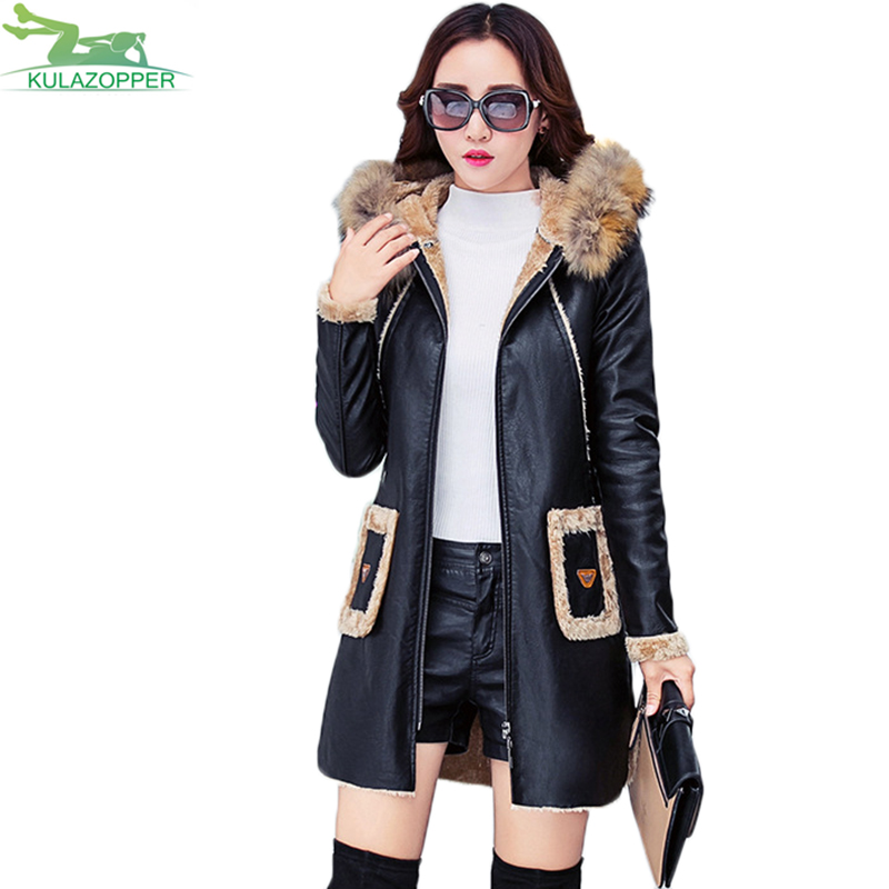Leather   jacket 2018 winter fur collar patchwork   leather   trench hooded spliced   leather   trench cotton liner M-3XL Plus size QW565