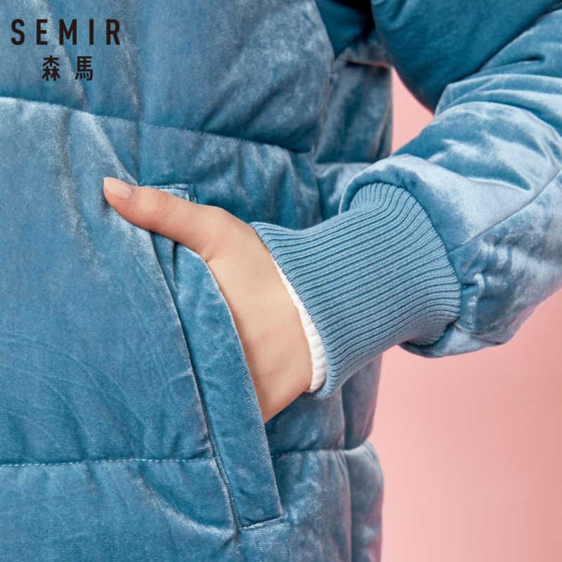 معطف مخملي مبطن للنساء من SEMIR مع غطاء محرك السيارة مزركش بفرو صناعي قابل للفصل معطف منتفخ بقلنسوة وسحاب للإغلاق عند الأصفاد