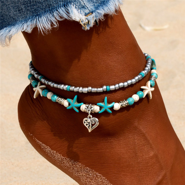 New Shell Beads Starfish Anklets for Women Beach Anklet Leg Bracelet Handmade Bohemian Foot Chain Boho Jewelry Sandals Gift