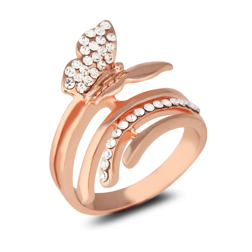 Aliexpress Buy Unique Butterfly Rose Gold Plated Ring Women Wedding Eng