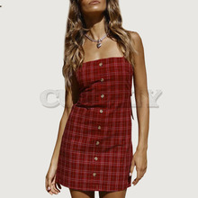 Cuerly Button sexy plaid strap summer dress women Beach fitness short party dress female Sleeveless bow casual daily dress  L5
