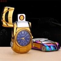 Fashion Car Shape Watch Cigarette Lighter Wristwatches Windproof Flameless Watch USB Charging Clock Men S Quartz