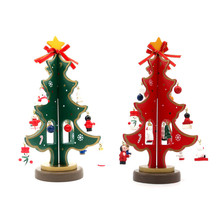 Mini Wood Christmas Tree Home Decoration Desk Decor New Year Xmas Tree Holiday Supplies With 16 pcs Cute Snowman Ornament