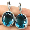 Big Gems 22x18mm Rich Blue Aquamarine, CZ Created Wedding  Silver Earrings 40x20mm