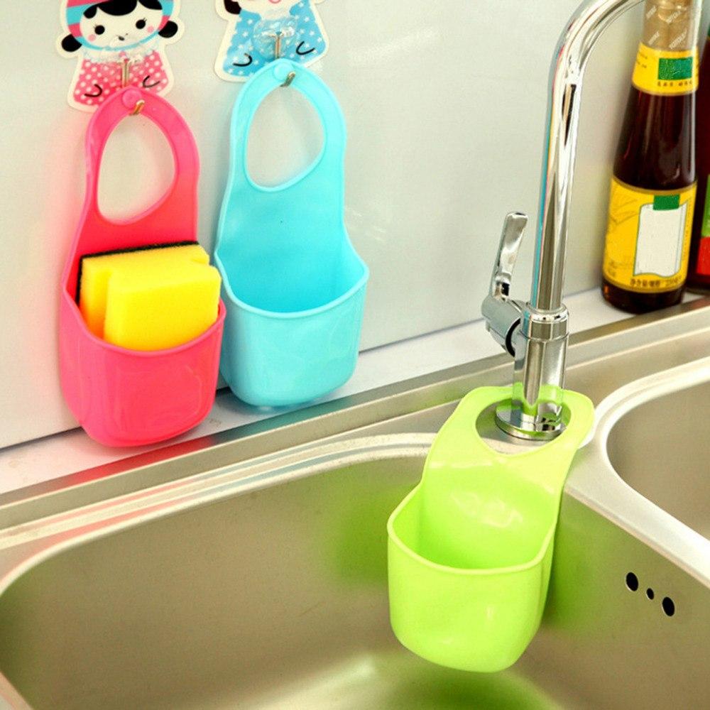 Hot Kitchen Sink Sponge Holder Bathroom Hanging Strainer Organizer Storage Box Rack