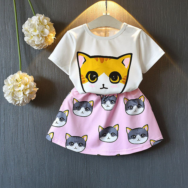 Children's Cat Patterned Clothing Set