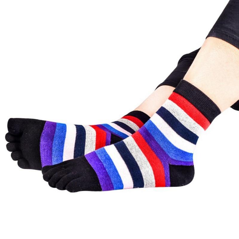 Colorful Five Fingers Striped Women Toe Socks Female Crew Striped Cotton Socks Ladies Cute Five Fingers Socks