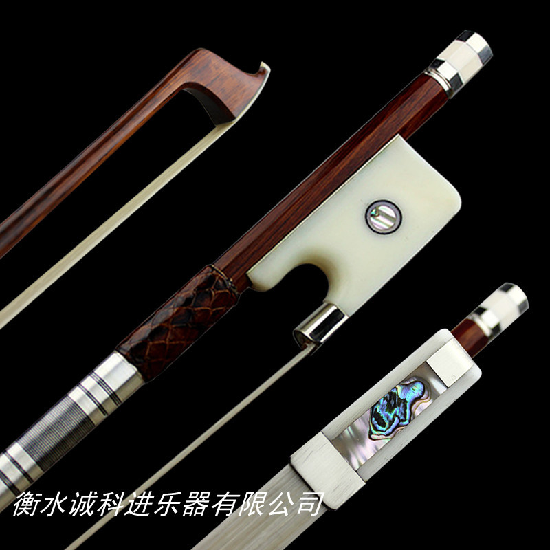 AAAAA Prefessional snakewood 4/4 cello bow siberia horestail round stick nickel siver fittings bone frog free shipping #1