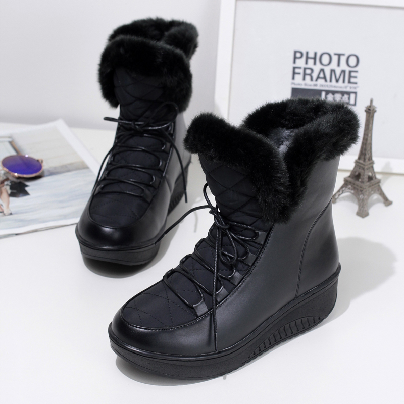 2017 New Women Ankle Boots Solid Slip-on Soft Cute Women Snow Boots Round Toe Flat With Winter Fur Ankle High Winter Warm Boots cute women winter snow boots slip on soft fur warm shoes candy color ankle boots woman round toe solid flat biker boots