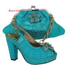 Doershow женские туфли и сумочка в тон бриллиантами Итальянские женские туфли и сумочка в тон комплект для вечеринки женская обувь и комплект с сумкой! VL1-5