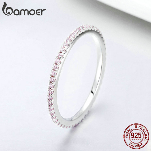BAMOER 925 Sterling Silver Pink Crystal Wedding Female Rings for Women Simple Geometric Ring Sterling Silver Jewelry SCR066 3