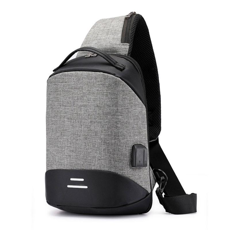 Crossbody Handbag Shoulder-Bag-Sling Chest-Pack Anti-Theft Sports Fashion Men For Usb-Charging