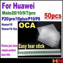 50pcs atacado OCA Adesivo Óptico Claro para Huawei honor 10 lite P8 P20 P10 companheiro 20 Cola pro Toque filme Lente de vidro lágrima fácil
