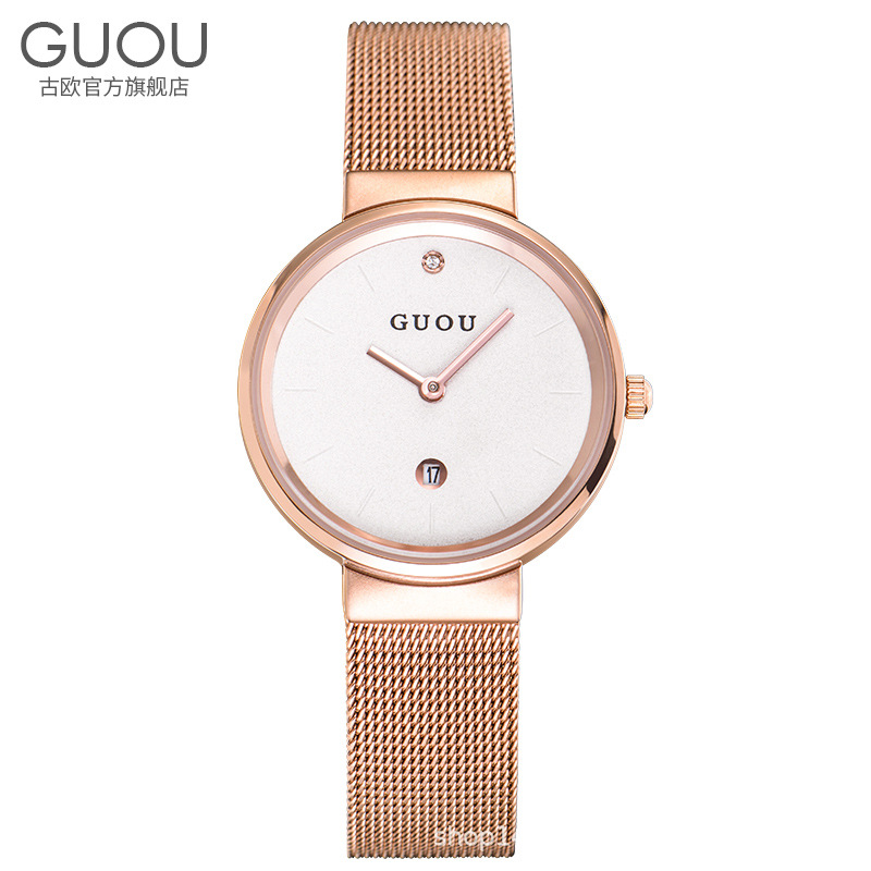GUOU Watch Women Lady Watches Ultra Thin Rose Gold Steel Mesh Band Analog Ladies Quartz Calendar Wrist Watches Relogio Feminino