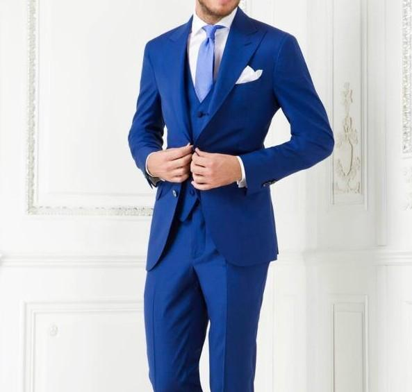 High Quality Two Button Royal Blue Groom Tuxedos Groomsmen Men's Wedding Prom Suits Custom Made (Jacket+Pants+Vest+Tie) K:256
