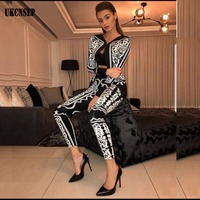 UKCNSEP 2018 New Elegant Two 2 Pieces Set Sexy Bandage coat and pants Autumn Patchwork Geometric Celebrity Vestidos Festa