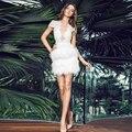 Robe de Cóctel 2016 Sexy Vestidos Cortos de Cóctel Blanco Faux Fur Opacidad Apliques de Encaje Vestido de Partido Del Regreso Al Hogar