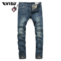 Evisu Mens Brand Denim Jeans Men Distressed Biker Jeans Fashion Casual Jogger Long Pants Light Blue Straight Trousers 3042