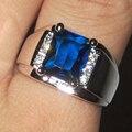 Мужская Серебряный Продолговатые Синий Создания Сапфир с Боковой Камень CZ Кольцо Вечности Ювелирные Изделия