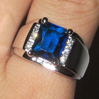 Men S 925 Sterling Silver Oblong Blue Sapphire With Side CZ Stone Ring Eternity Jewelry