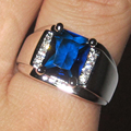 Men's Silver Oblong Blue Created Sapphire with Side CZ  Stone Ring Eternity Jewelry