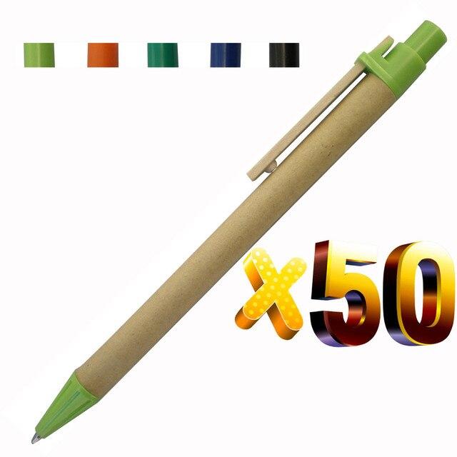 Caneta de madeira, lote 50 peças de caneta de esfera de papel eco, conceito verde, amigável, logotipo personalizado de promoção