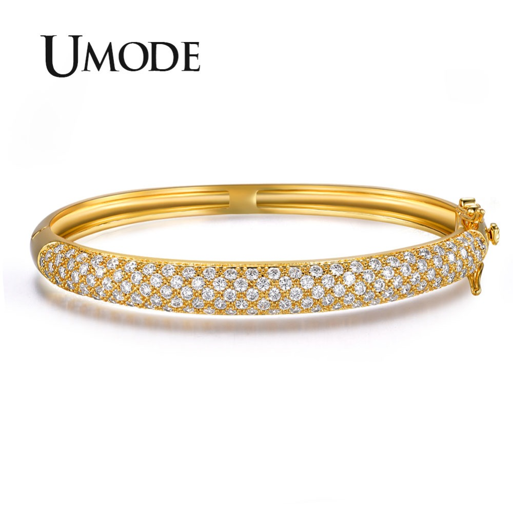 UMODE Luxurious Party Jewelry Gold-color 129 pcs 0.03ct Cubic Zircon simulated CZ Stone Pave Bangle Bracelets UB0039A