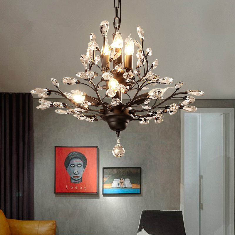 Modern K9 Crystal Lustres De Cristal Decoration Chandeliers Pendants Gold / Black E14 For Living Room Bedroom Lights WPL181 modern new k9 modern crystal lustres de cristal decoration chandeliers and pendants silver gold 6 8 15 18 arms for living room