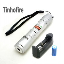 Big discount Tinhofire High Quality Long distance 300mw High Power Green Laser Pointer Pen Powerful light Laser 619 Silver+Battery+Charger