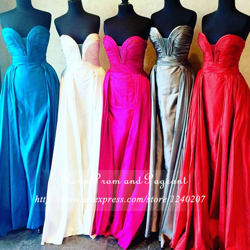 Hot Sale Real Sample 2017 Pleated Sweetheart Neck Off The Shoulder Taffeta Long Mermaid Prom Dresses