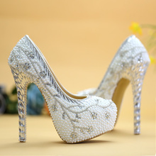 ivory pearl rhinestone wedding shoes bridal crystal shoes woman single up heel shoes women's pumps platform wedding sheos