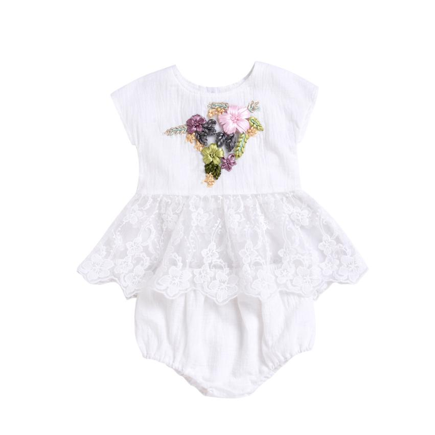 TELOTUNY 2018 Baby Girl Clothes Newborn Summer Toddler Baby Girls Embroidery 3D Floral Lace Tops Dress Shorts Outfits Set 5.22